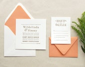 The Amaryllis Suite - Letterpress Wedding Invitation Sample, Coral and Gold, Modern, Orange, Urban Chic, Serif Fonts, Simple, Square