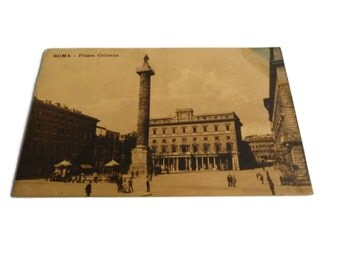 Rome Italy Vintage Postcard . Piazza Colonna, Roma . Old Rome Postcard .