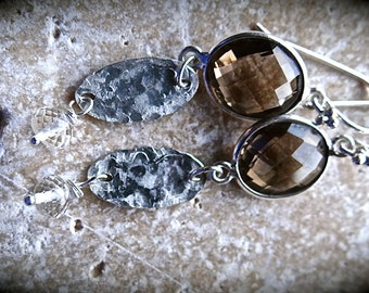 Smoky Quartz Ovals with Textured Sterling Silver Earrings