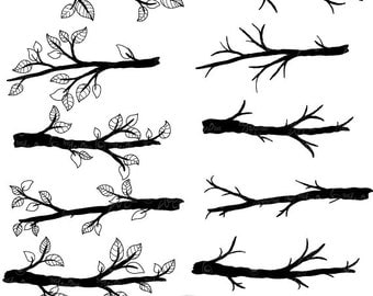 """Branch Silhouettes Clipart""""BRANCH SILHOUETTES"""" clip art pack,Tree Branchs,Branchs,Silhouettes,Branch,Scrapbook, Instant Download Sh004"""