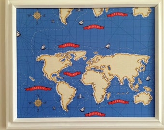 Nautical Map Pin Board Message Board Cork Board