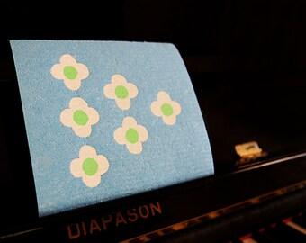 Anemone flower design - hand screen printed Swedish Dish cloth