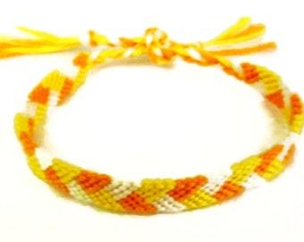 Halloween Candy Corn Colored Braided Pattern Macrame Embroidery Friendship Bracelet, Halloween Friendship Bracelet