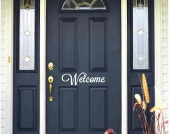Welcome Front Door Vinyl Lettering Viny, Decal, door,  Welcome, Front Door Sticker, Vinyl Sticker, Outdoor Stickers, home decals