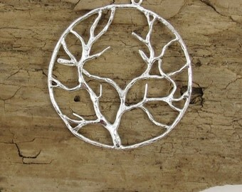 2 Silver Tree of Life Pendant - Tree Pendant, Silver Plated Copper,Item 179m