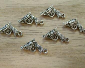 Six Silver Handgun Charms - Tibetan Silver - Double Sided