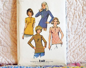 Top, S, Simplicity 5185 Pattern, Knit, Variations in Sleeves Collar Neckline, Zipper or Buttons, 1972 Uncut, Size 10