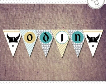 Printable Viking Baby Shower Banner (Digital File, Printing Available)