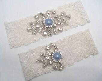 Custom Wedding Garter Crystal Rhinestone Bride White Ivory Lace Keepsake Toss