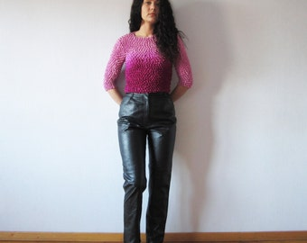 Vintage 80s Black Leather Pants High Waisted Peg Leg Womens Genuine Leather Trousers Biker Motorcycle Rockstar Medium