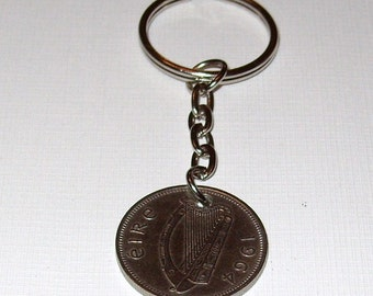 1964 Old Shilling Irish Coin Keyring Key Chain Fob 53rd Birthday