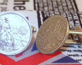 Boxed Pair Vintage British 1959 Lucky Sixpence Six Penny Coin Cufflinks Wedding 58th Birthday Anniversary