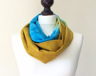 Cotton Loop Scarf, Infinity Scarf, Printed Circle Scarf, Boho Tie Dye Scarf, Blue Yellow Scarf, Women Scarf, Lightweight Scarf, Designscope