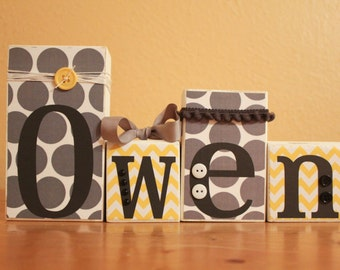 Yellow Grey Baby Shower Gray Chevron Baby Name- Personalized Blocks- Modern Gray Yellow Nursery- Chevron Nursery Decor- Personalized Letters