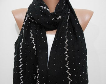 Black scarf shawl Stud scarf Cowl scarf Sparkle scarf Silver stud scarf Holiday Fashion Accessories Mothers Day Christmas Gift Ideas For Her