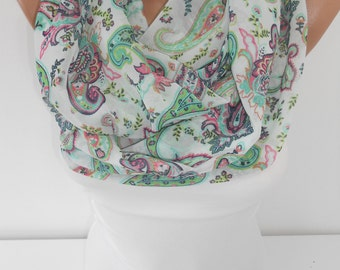 Paisley Infinity Scarf Mint Loop Scarf Spring Summer Scarf Green Boho Scarf Women Fashion Accessories St Patricks Day Scarf Gifts For Her