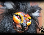 Fire lion wall art sculpture OOAK.