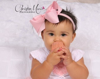 pink bow baby girl headband baby first halloween pink headbands big bows - Baby First Halloween