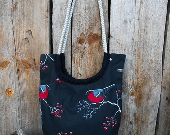 Cotton Handbag Women Handbag Christmas Gifts Idea Birds Purse Canvas Bag Book Bag Fabric Bag Birds Handbag Shoulder Bag Gift For Her
