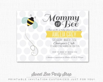 Mommy to Bee Baby Shower Invitation - Bumble Bee - Polka Dot - Printable