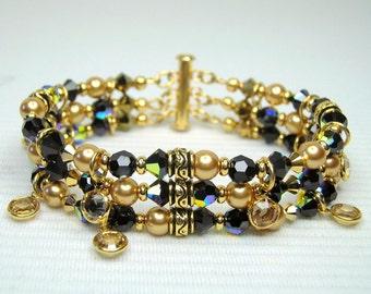 Jet Black Crystal and Gold Crystal Pearl 3 Strand Bracelet