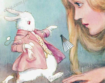 INSTANT DOWNLOAD of Vintage Alice in Wonderland Art by Margaret W. Tarrant from a rare 1922 book. Alice and White Rabbit, fan, gloves,  Jpeg