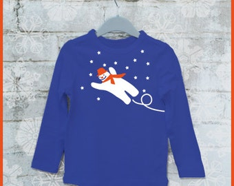 Snowman! Personalized kids t-shirt with a flying snowman (and the name of the child)