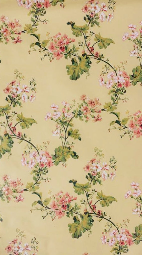 handpainted shabby peach pink floral on yellow vintage wallpaper chic cottage vine flower. Black Bedroom Furniture Sets. Home Design Ideas