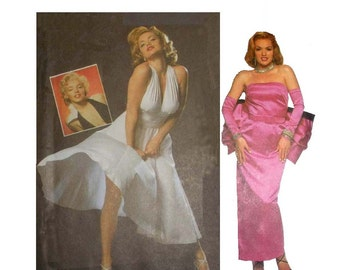 """Marilyn Monroe Dress """"Seven Year Itch"""" & """"Gentlemen Prefer Blondes"""" Misses Size 10, 12, 14 Bust 32 1/2 34 36 Sewing Pattern Simplicity 8393"""