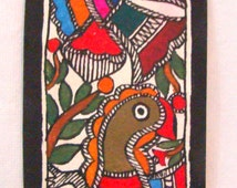 Madhubani Painting Original Peacock Design Can Also be used as Bookmark Handmade Stationery Indian Handicraft from Bihar-Folk Painting