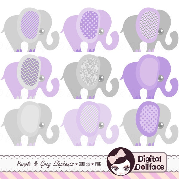 purple elephant baby shower clip art purple and grey cute