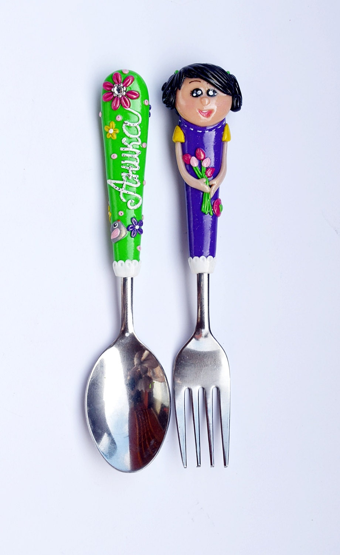 Custom Made Girl Cutlery Set Spoon And Fork Babyshower Green