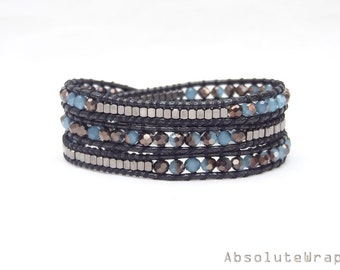 Blue black crystal wrap bracelet with black metal beads on soft polyester cord, triple wrap bracelet