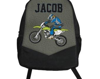 Custom Personalized MOTOCROSS Motor Cross Racing Dirt Bike Kids Boy Backpack tote School Camp Monogram
