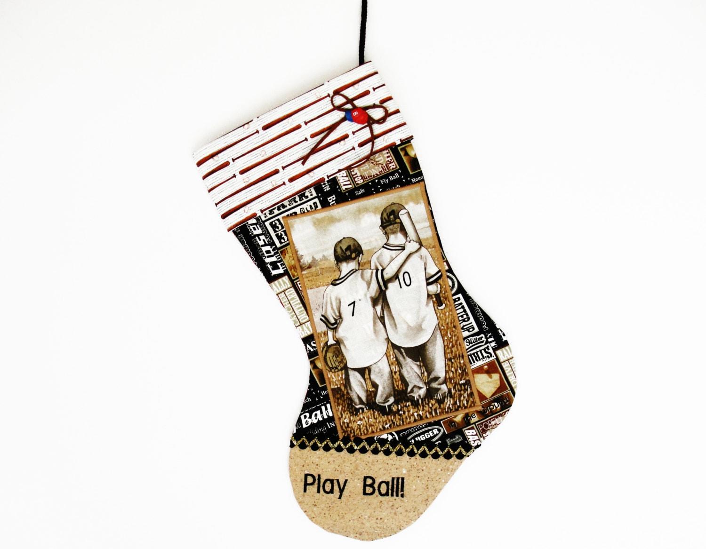 Baseball christmas stocking a custom handmade one of a kind for Custom made christmas stockings
