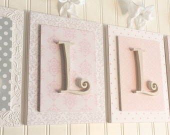 Nursery letters, Pink and Gray Nursery Letters,Personalized letters,Wooden Nursery Letters,Wood Letter,Custom Nursery Letters,Pink Nursery