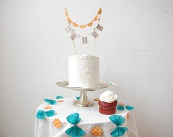 Bunting Garland  Cake Topper, Garland & Cupcake Topper Dessert Table Package