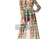Tie-dye Maxi Tunic Chiffon Sheer Button Down Dress Shirt