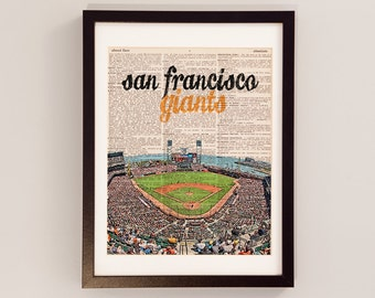 San Francisco Giants Dictionary Art Print - AT&T Park - Print on Vintage Dictionary Paper - Baseball Art - Gift For Him - SF Giants