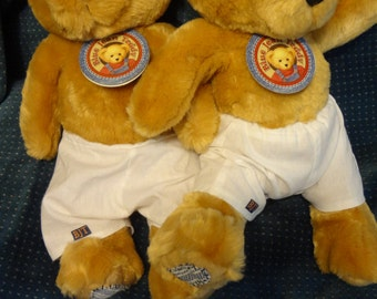 Pair (2) of Blue Jean 12'' Teddy Bears with Moveable Arms and Legs