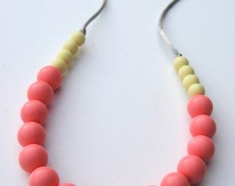 Silicone Teething Necklace / Silicone Nursing Necklace - Blush & Apple