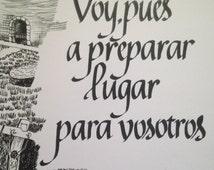 Verso de la Biblia, Juan 14  2, Espanol, Hispanic, Latino, Spanish, 8 x 10 inch Drawing by Elmer Charlie Yazzie, Calligraphy ; Connie Dillon