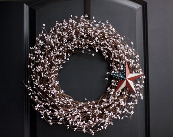 4th of July Wreath - Patriotic White Berry Wreath - Patriotic Decor - Patriotic Wreath - July 4th Wreath - Memorial Day Wreath -White Wreath