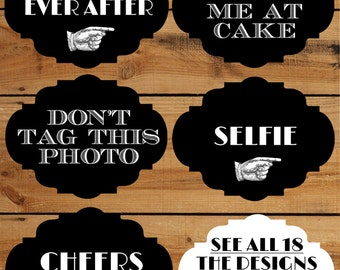 Wedding Photo Booth Props 18 Funny Printable Signs for a DIY wedding photobooth- Fancy retro props in vintage black and white selfie station