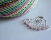 Snagless pink glass bead stitch markers - set of 8