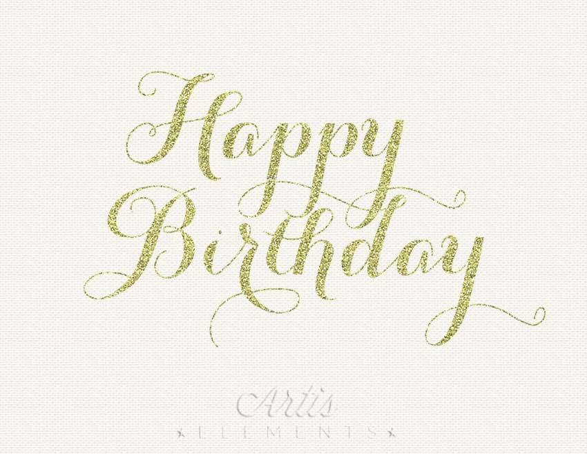 Happy Birthday Gold Glitter Calligraphy Script Digital