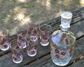 Pink Gold Cordial Set 6 Glasses Decanter Stopper Cerve Barware Vintage Italian Glassware Pink Floral Goldtone Trim Unused Cond Complete Mint