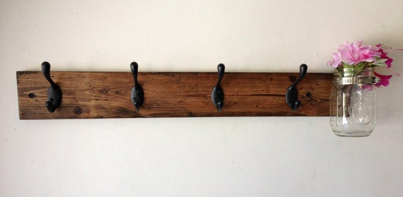 Wall Coat Hooks rustic wood wall coat rack with mason jar entryway storage