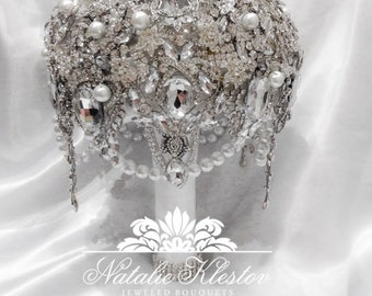 The White Silver Art Deco Deluxe Brooch Bouquet. Deposit on Great Gatsby Vintage Diamond Jeweled Crystal Pearl Broach Bouquet