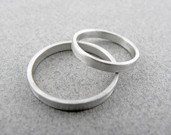 Gold wedding bands set-14k white gold-2 x 1.2mm flat-Brushed finish.Hand forged wedding rings.FREE SHIPPING.